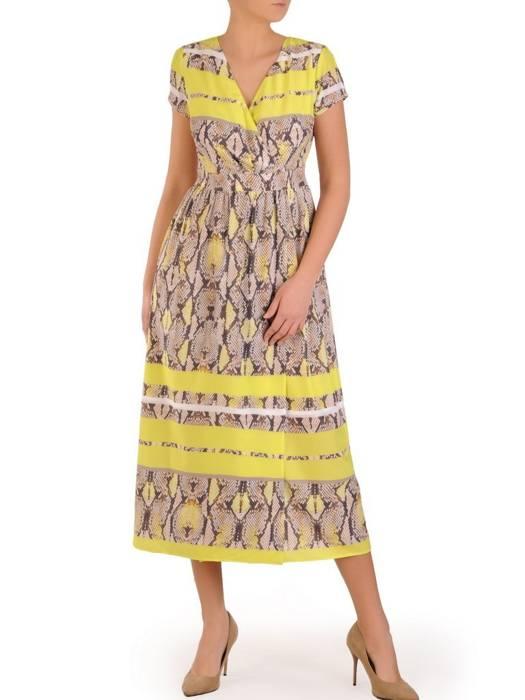 Wężowa sukienka w wyszczuplającym fasonie, modna kreacja midi 28282