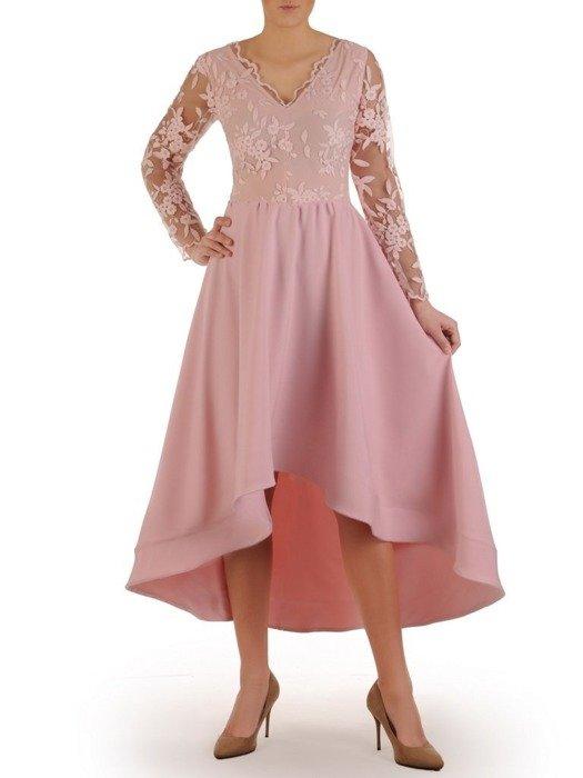 Wieczorowa asymetryczna sukienka, jasna kreacja z koronkową górą 24862