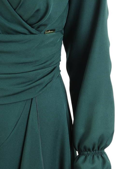 Wieczorowa sukienka maksi, kreacja z kopertowym dekoltem i asymetrycznym dołem 30824