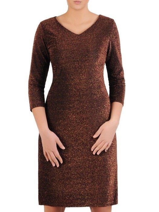 Wieczorowa sukienka, modna kreacja z połyskującej dzianiny 24217