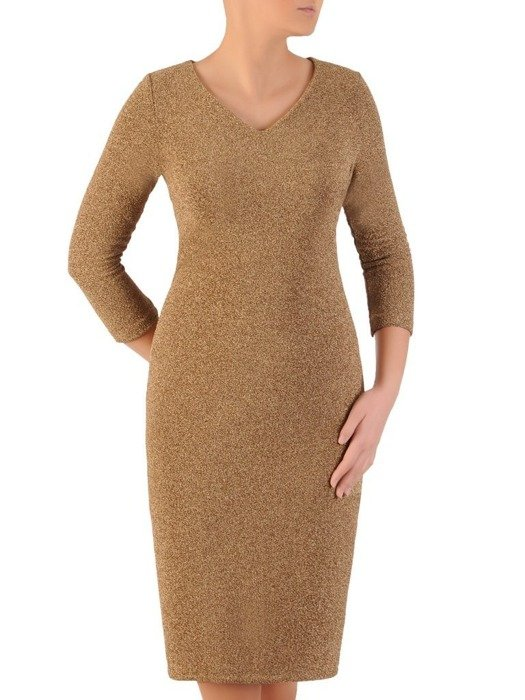 Wieczorowa sukienka, modna kreacja z połyskującej dzianiny 24297