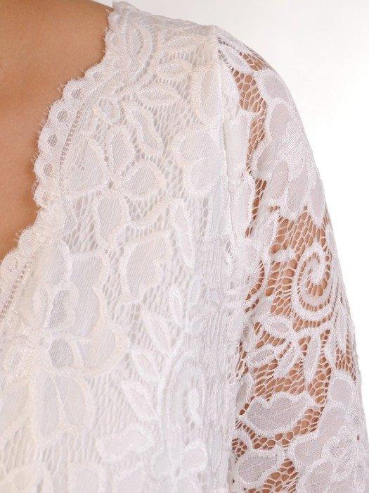 Wieczorowa sukienka o długości maxi, kreacja z koronkowym topem 22613