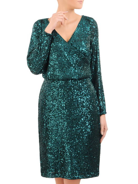 Wieczorowa sukienka z cekinów, kreacja z kopertowym dekoltem 30762