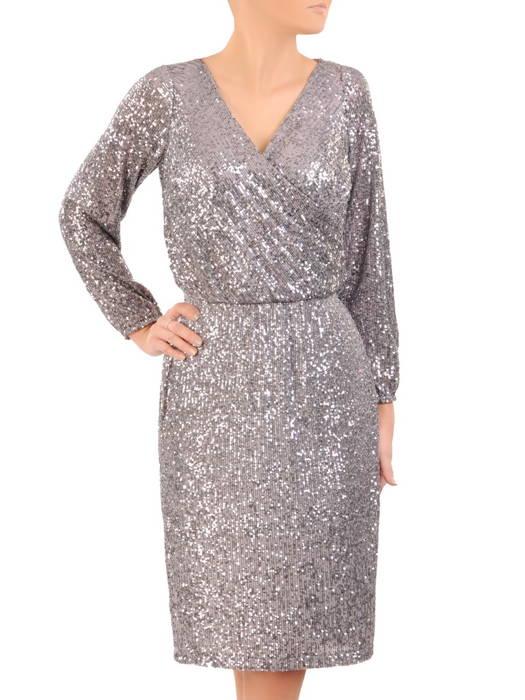 Wieczorowa sukienka z cekinów, kreacja z kopertowym dekoltem 30765