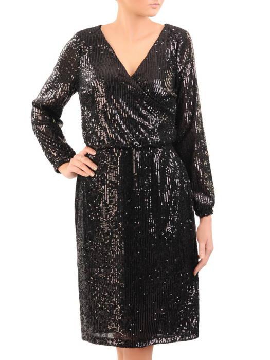 Wieczorowa sukienka z cekinów, kreacja z kopertowym dekoltem 30766