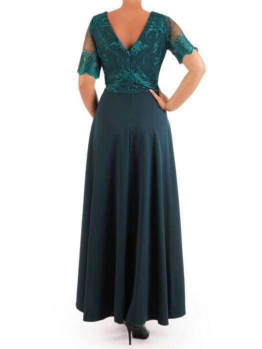 Wieczorowa sukienka z dłuższym tyłem i ozdobnie wyciętym dekoltem 26857