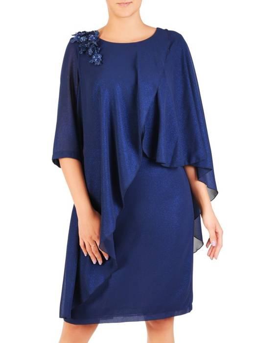 Wieczorowa sukienka z połyskującego szyfonu, kreacja z ozdobną aplikacją 30429