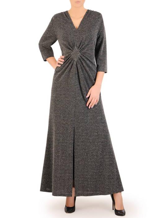 Wieczorowa suknia maxi z połyskującej dzianiny 31052