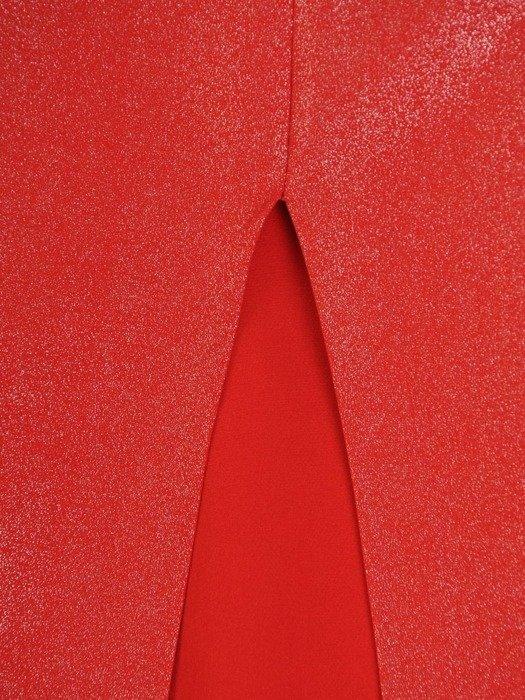 Wieczorowa suknia na cienkich ramiączkach, długa czerwona kreacja 25133
