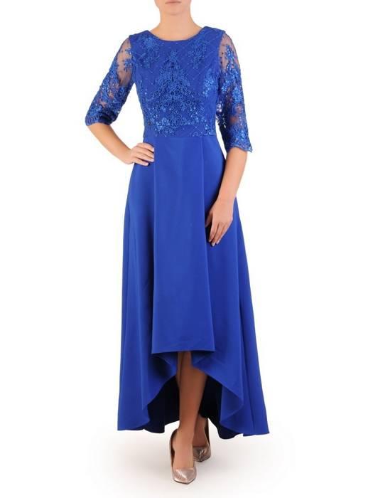 Wieczorowa suknia z koronki i tkaniny, kreacja z wydłużonym tyłem 30161
