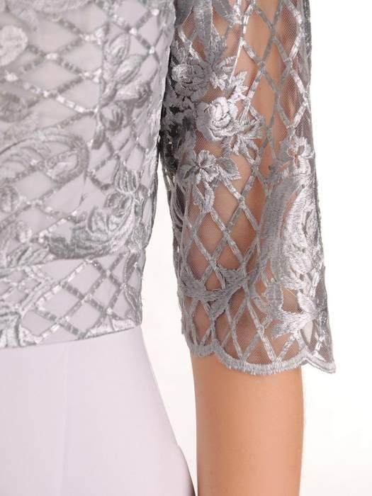 Wieczorowa suknia z koronki i tkaniny, kreacja z wydłużonym tyłem 30162