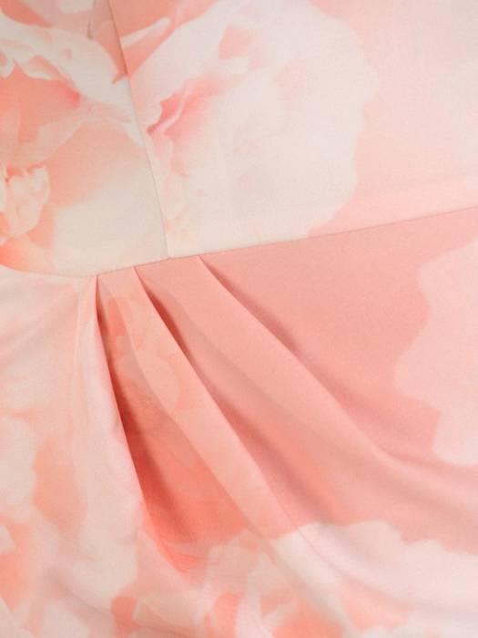 Wiosenna pudrowa sukienka, kreacja w kwiaty 28189