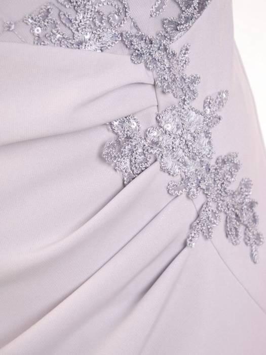Wizytowa sukienka damska, popielata kreacja z tkaniny i koronki 29920