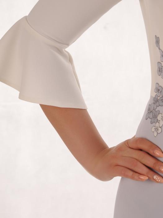 Wizytowa sukienka z elegancką aplikacją i modnymi rękawami 20905