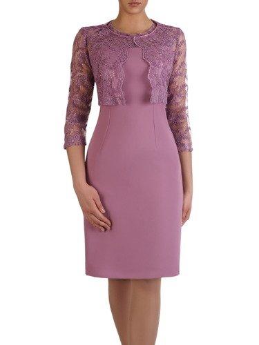 Wrzosowa sukienka z krótkim, koronkowym żakietem 15348.