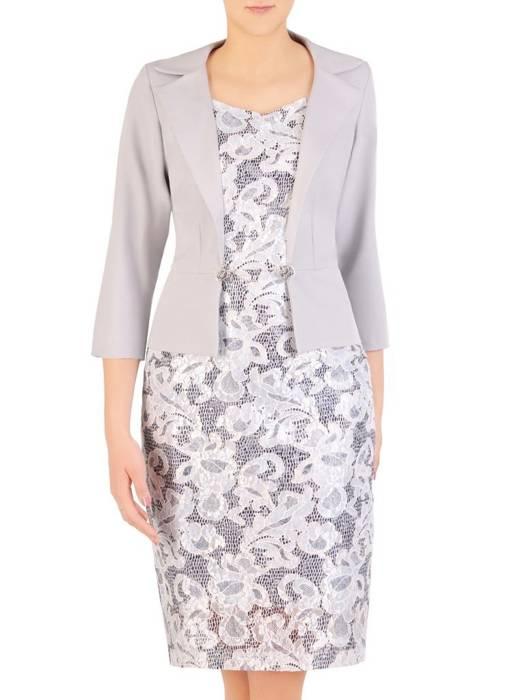 Wyszczuplająca koronkowa sukienka z imitacją popielatego żakietu 29328