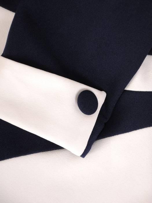 Wyszczuplająca sukienka damska, kreacja z kontrastowymi wstawkami 30420