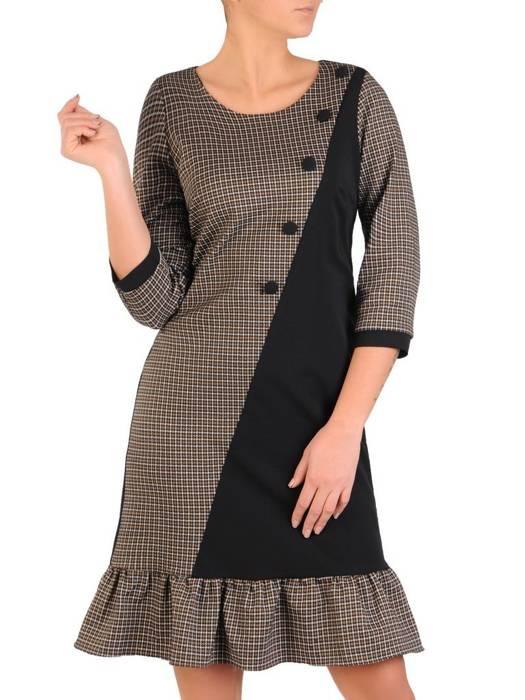 Wyszczuplająca sukienka w kratkę z ozdobną falbaną 28130
