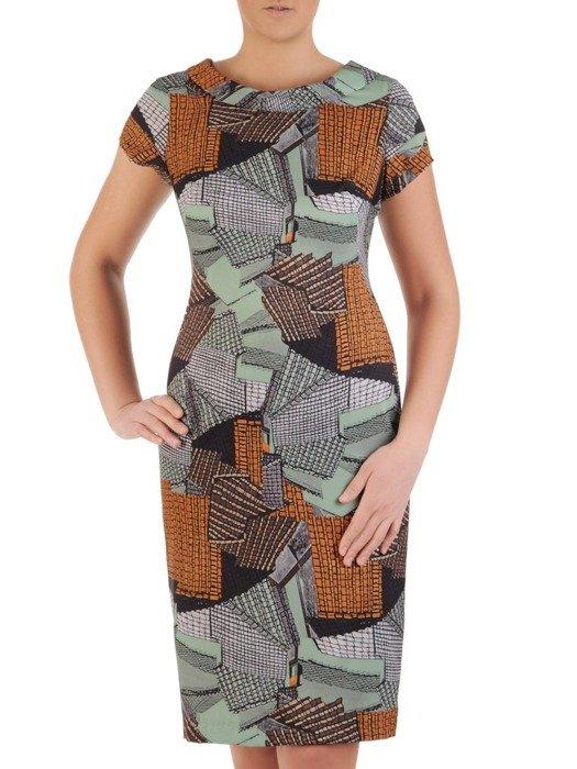 Wzorzysta sukienka z półgolfem, kreacja w modnych kolorach 25042