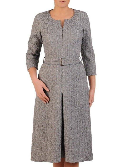 Żakardowa sukienka z zamkiem na dekolcie, kreacja z kontrafałdą 24091