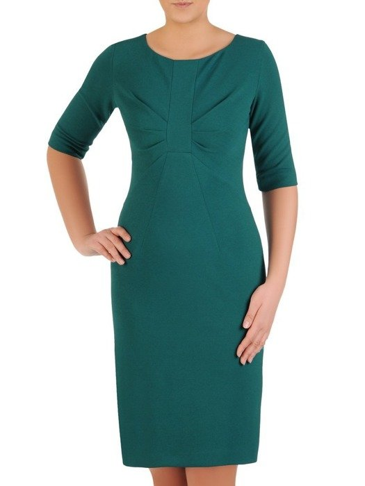 Zielona sukienka z ozdobnym marszczeniem na biuście 24582