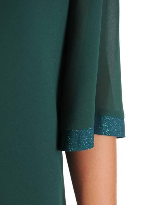 Zielona sukienka z szyfonu, zwiewna kreacja z falbanami 26940