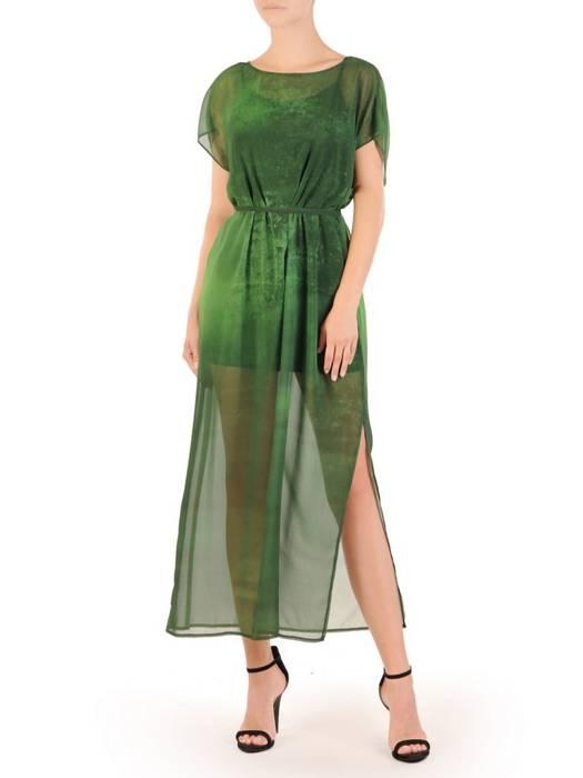 Zielona, szyfonowa sukienka z dzianinową halką 30098