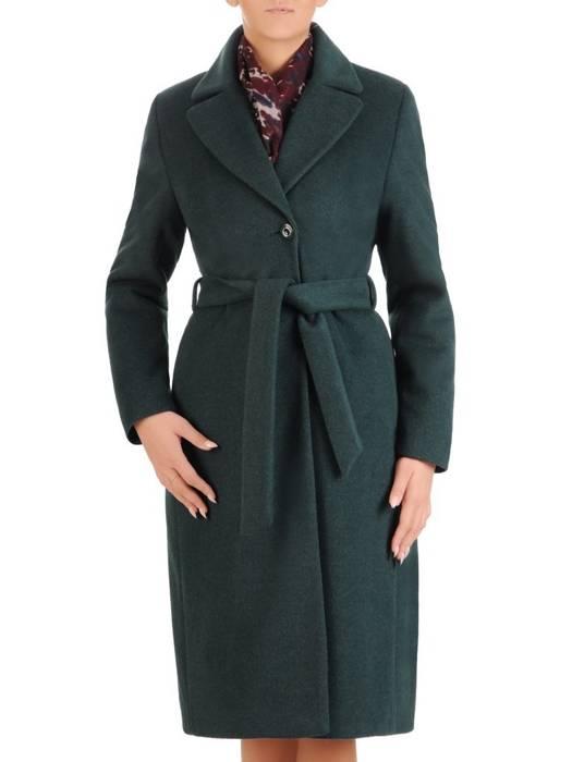 Zielony płaszcz damski z regulującym talię wiązanym paskiem 27793