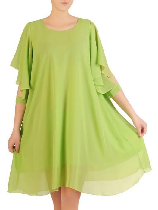 Zwiewna sukienka damska, kreacja z ozdobnie wyciętymi rękawami 29167