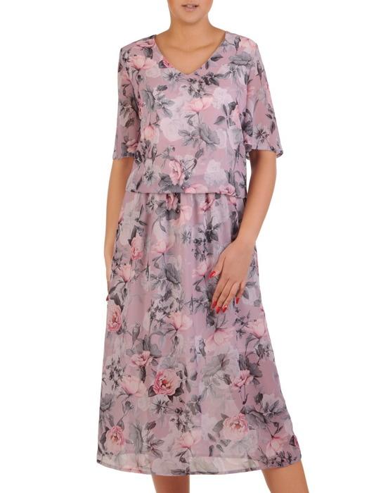 Zwiewna sukienka z szerokimi rękawami, modna kreacja w kwiaty 21263