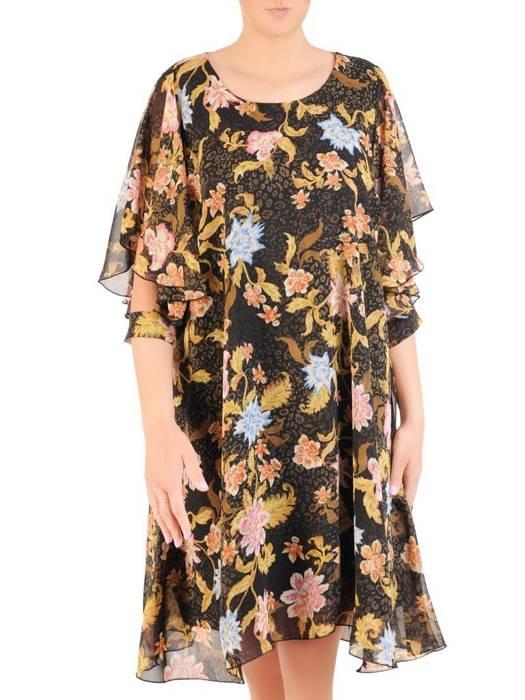 Zwiewna sukienka z szyfonu, wyszczuplająca kreacja w kwiaty 29963