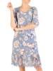 Dzianinowa sukienka z szyfonowymi rękawkami i plisami 29593