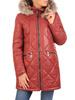 Ceglana kurtka z ozdobnym kapturem i przednimi kieszeniami 31099