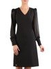 Czarna sukienka z tkaniny, kreacja z bufiastymi rękawami 24245