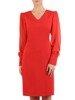 Czerwona sukienka z tkaniny, kreacja z bufiastymi rękawami 24248