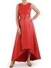 Długa, błyszcząca suknia z modną zakładką, elegancka kreacja na wieczór 25103