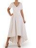 Długa sukienka kopertowa, kreacja z ozdobą na plecach 22745