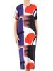 Długa sukienka z bawełnianej dzianiny, kreacja w kolorowe wzory 30084