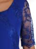 Elegancka chabrowa sukienka, kreacja z koronkowymi wstawkami 28219