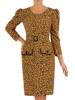 Elegancka sukienka w cętki z bufiastymi rękawami 27520