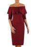 Elegancka sukienka z dekoltem carmen, bordowa kreacja odsłaniająca ramiona 22430