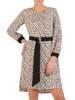 Elegancka sukienka z paskiem i gumkami na rękawach 28566