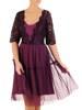 Fioletowa efektowna, koronkowa sukienka z tiulowym dołem 27981