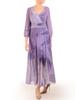 Fioletowa sukienka z szyfonu, kreacja z kopertowym dekoltem 30779