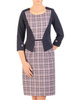 Jesienna sukienka w kratkę, kreacja z imitacją żakietu 30693