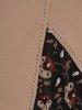 Kolekcja 28367, tunika w oryginalnym wzorze i beżowe spodnie
