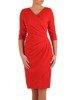 Kopertowa czerwona sukienka, modna kreacja z dzianiny 25339
