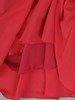 Kostium damski, koralowa kreacja z koronkowym żakietem 25511