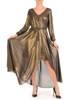 Miedziana sukienka damska, połyskująca długa kreacja 29540