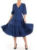Modna sukienka midi, rozkloszowana kreacja z falbanami 28220